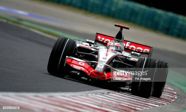 Fernando Alonso in the Vodafone McLaren Merecedes during a practice at the Hungaroring circuit near Budapest Hungary