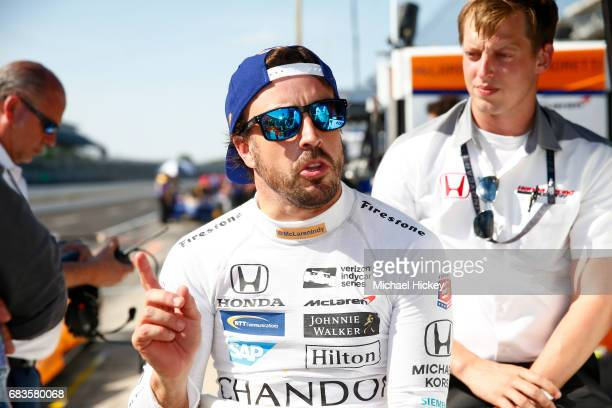 Fernando Alonso is seen during practice for the Indianapolis 500 at Indianapolis Motor Speedway on May 15 2017 in Indianapolis In