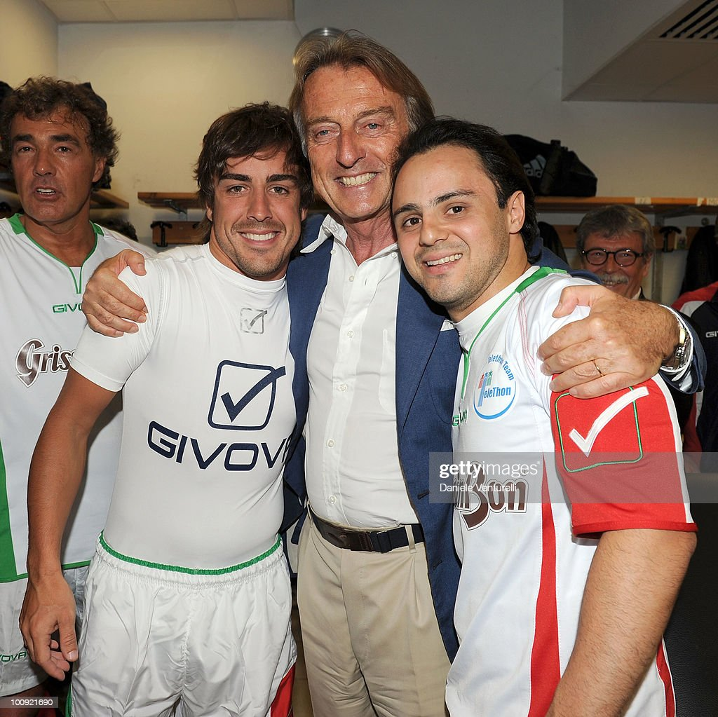 ACCESS** (L-R) Fernando Alonso, <a gi-track='captionPersonalityLinkClicked' href=/galleries/search?phrase=Luca+Cordero+di+Montezemolo&family=editorial&specificpeople=236070 ng-click='$event.stopPropagation()'>Luca Cordero di Montezemolo</a> and <a gi-track='captionPersonalityLinkClicked' href=/galleries/search?phrase=Felipe+Massa&family=editorial&specificpeople=206660 ng-click='$event.stopPropagation()'>Felipe Massa</a> attend the XIX Partita Del Cuore charity football game at on May 25, 2010 in Modena, Italy.