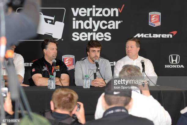 Fernando Alonso Michael Andretti and Zak Brown speaking to the media about his Indianapolis 500 entry for the Honda Grand Prix of Alabama IndyCar...
