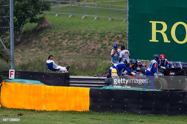 Fernando Alonso of McLaren and Spain during final qualifying for the Formula One Grand Prix of Brazil at Autodromo Jose Carlos Pace on November 14...