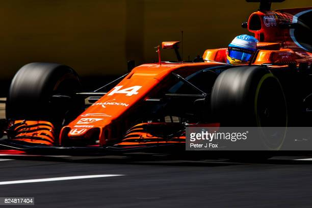 Fernando Alonso of McLaren and Spain during qualifying for the Formula One Grand Prix of Hungary at Hungaroring on July 29 2017 in Budapest Hungary