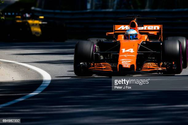 Fernando Alonso of McLaren and Spain during the Canadian Formula One Grand Prix at Circuit Gilles Villeneuve on June 11 2017 in Montreal Canada