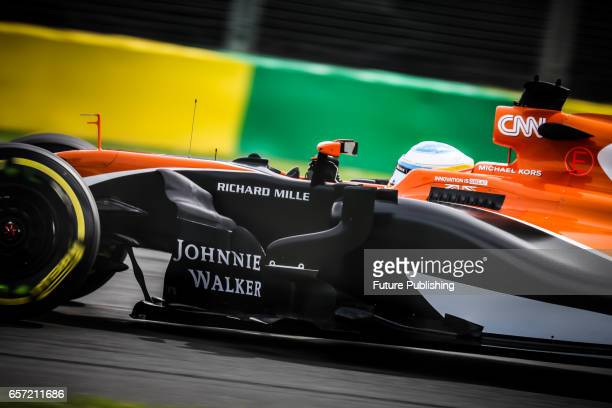 Fernando Alonso of McLaren Honda F1 Team competes in the 1st F1 practice session at the 2017 Australian Formula 1 Grand Prix on March 24 2017 in...