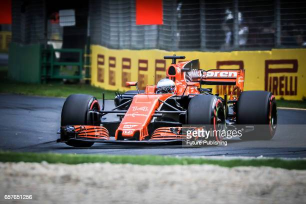Fernando Alonso of McLaren Honda Formula 1 Team competes in the 3rd F1 practice session at the 2017 Australian Formula 1 Grand Prix on March 25 2017...