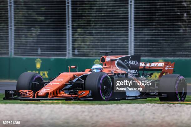 Fernando Alonso of McLaren Honda Formula 1 Team competes in the qualifying session at the 2017 Australian Formula 1 Grand Prix on March 25 2017 in...