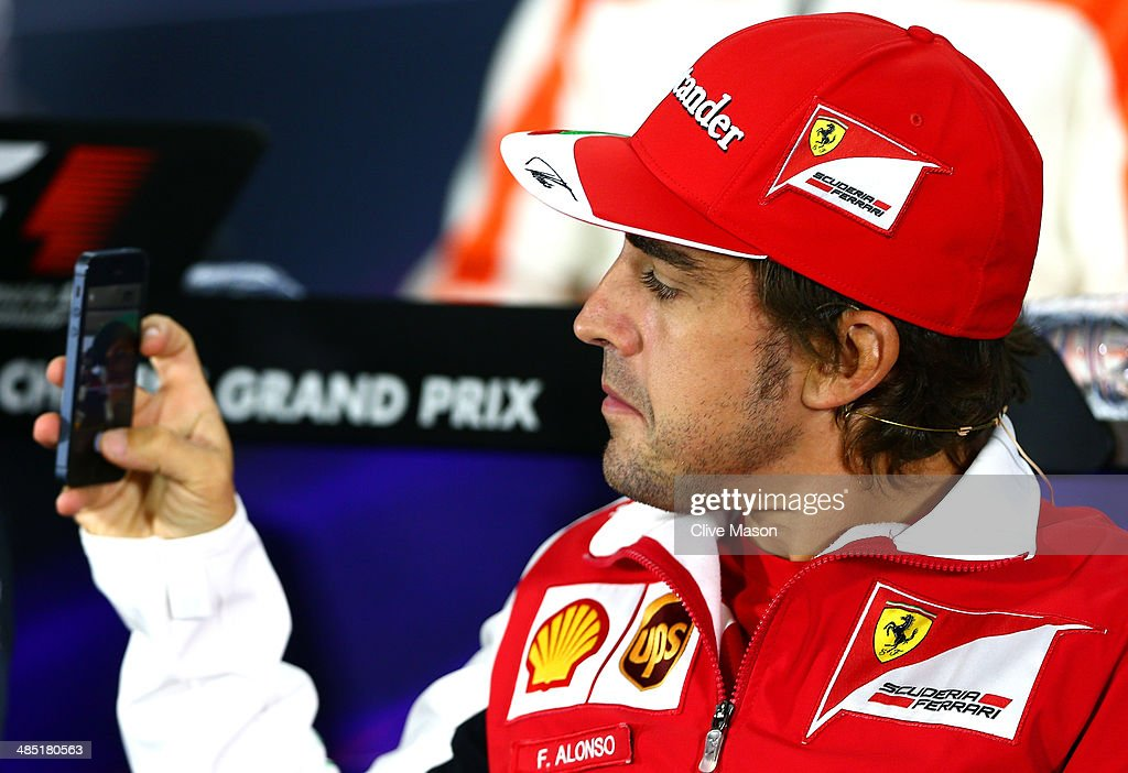 Fernando Alonso of Spain and Ferrari attends a press conference ahead of the Chinese Formula One Grand Prix at the Shanghai International Circuit on April 17, 2014 in Shanghai, China.