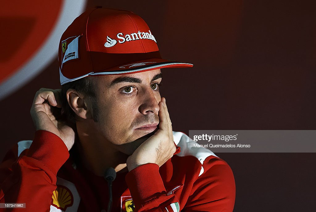 Fernando Alonso of Spain and Ferrari attends a press conference during the Ferrari Challenge of the Finali Mondiali at the Ricardo Tormo on December...