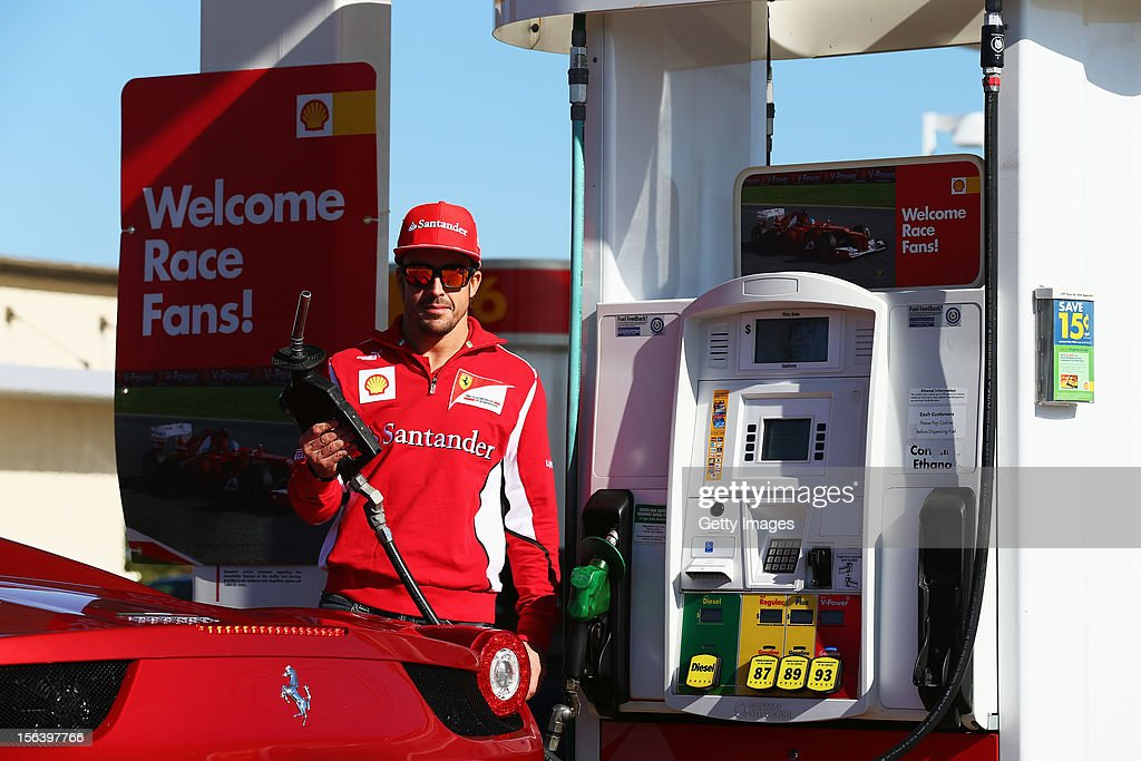 Fernando Alonso of Spain and Ferrari attends an event held at a Shell filling station on November 14, 2012 in Austin, United States of America.