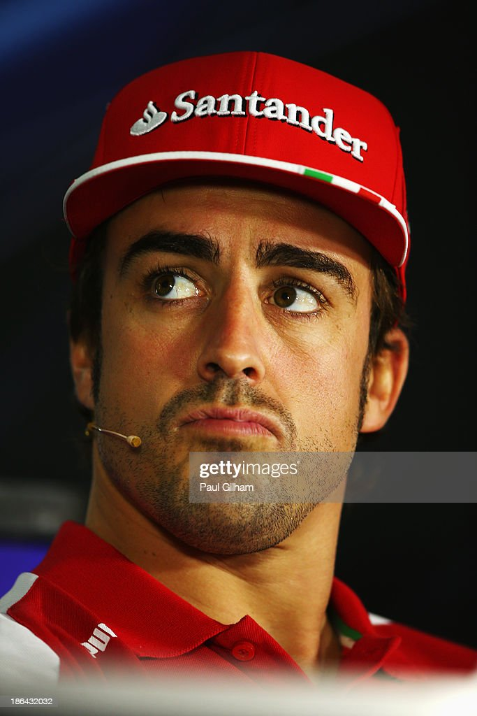 Fernando Alonso of Spain and Ferrari attends the drivers press conference during previews for the Abu Dhabi Formula One Grand Prix at the Yas Marina...
