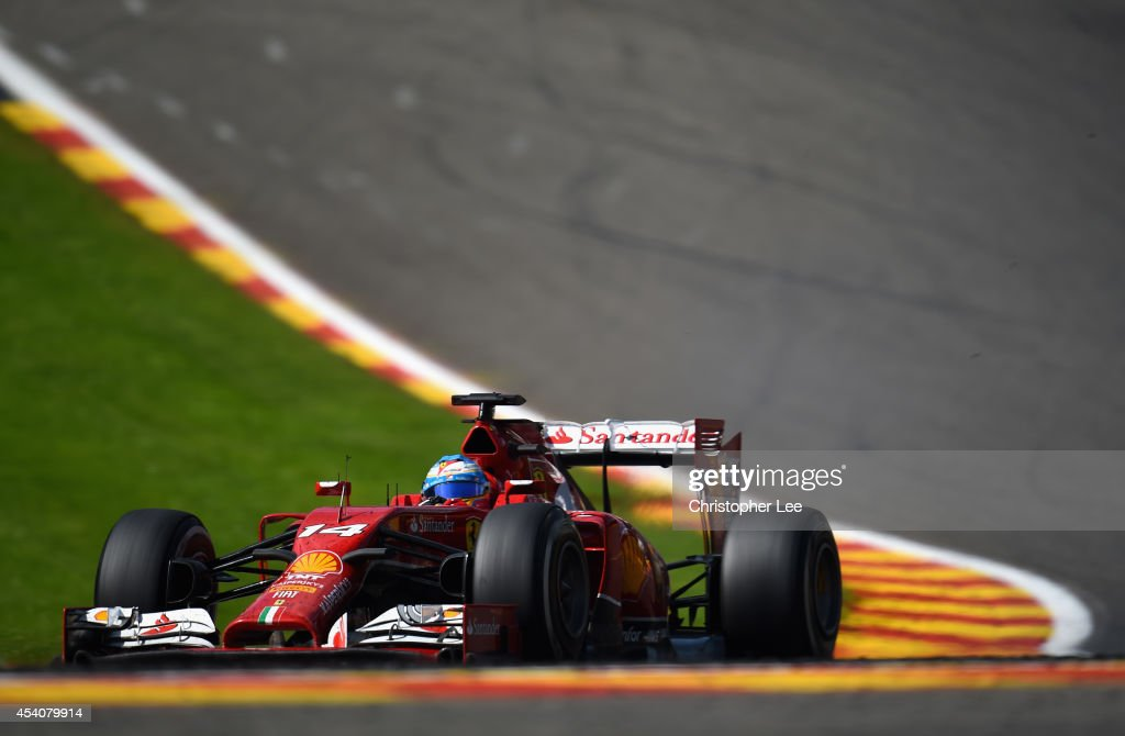 Fernando Alonso of Spain and Ferrari drives around Eau Rouge during the Belgium Grand Prix at Circuit de Spa-Francorchamps on August 24, 2014 in Spa, Belgium.