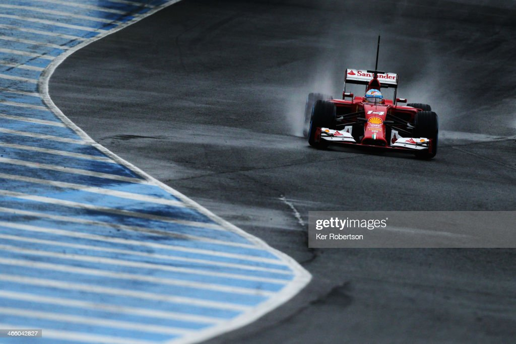 Fernando Alonso of Spain and Ferrari drives during day four of Formula One Winter Testing at the Circuito de Jerez on January 31 2014 in Jerez de la...