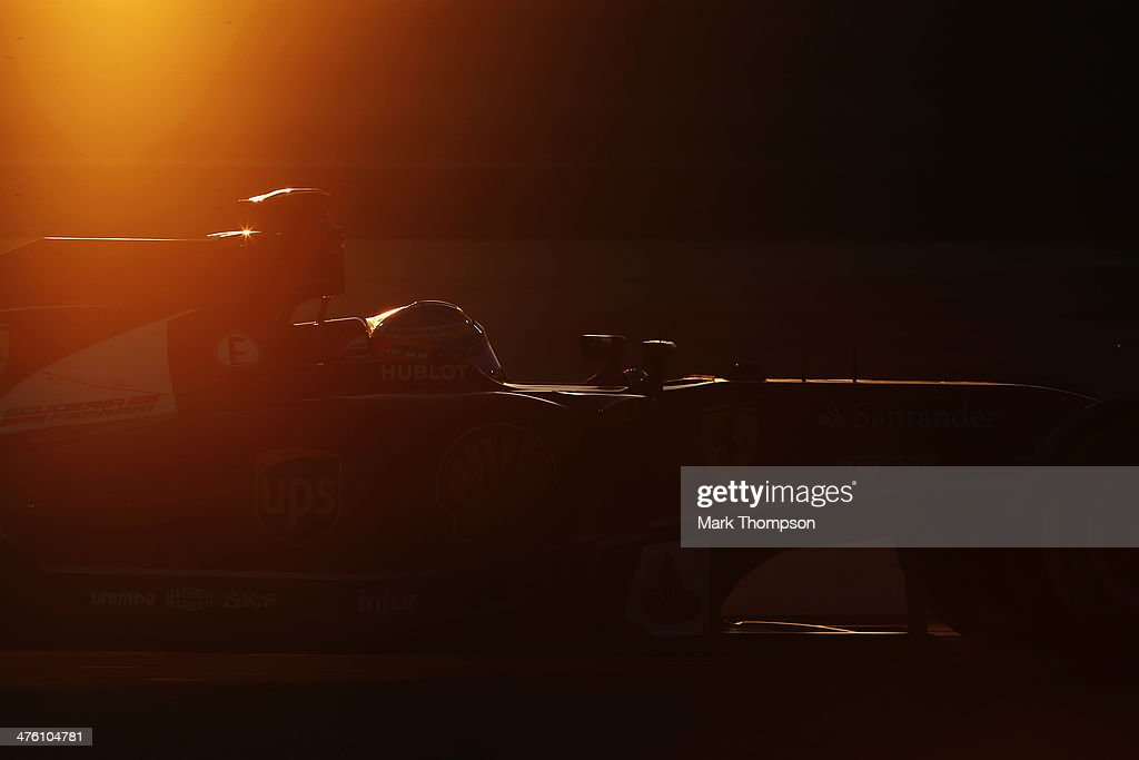Fernando Alonso of Spain and Ferrari drives during day four of Formula One Winter Testing at the Bahrain International Circuit on March 2 2014 in...