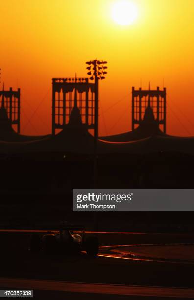 Fernando Alonso of Spain and Ferrari drives during day one of Formula One Winter Testing at the Bahrain International Circuit on February 19 2014 in...