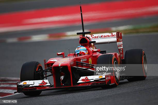 Fernando Alonso of Spain and Ferrari drives during day three of Formula One winter test at the Circuit de Catalunya on February 21 2013 in Montmelo...