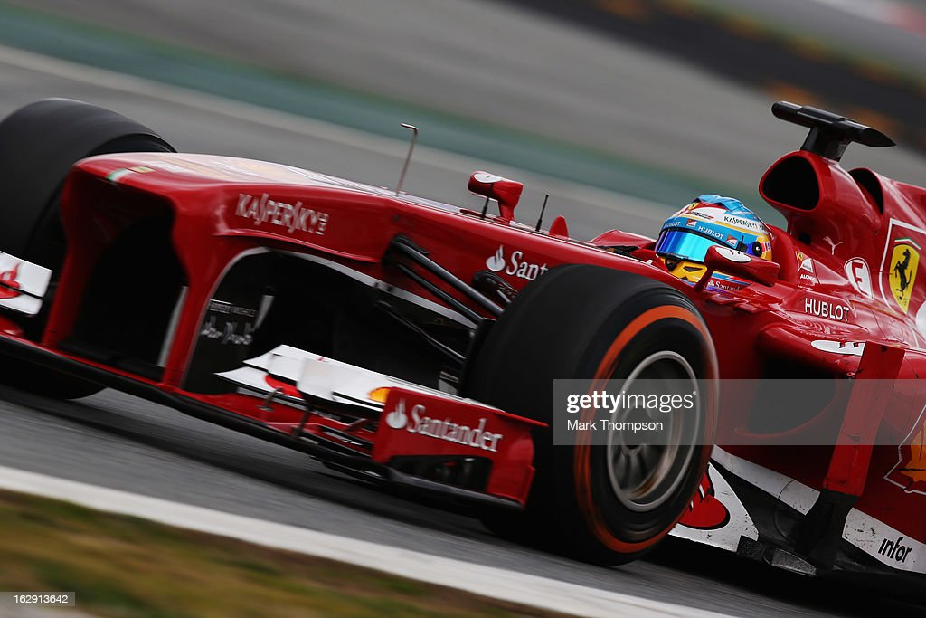Fernando Alonso of Spain and Ferrari drives during day two of Formula One winter testing at the Circuit de Catalunya on March 1, 2013 in Montmelo, Spain.