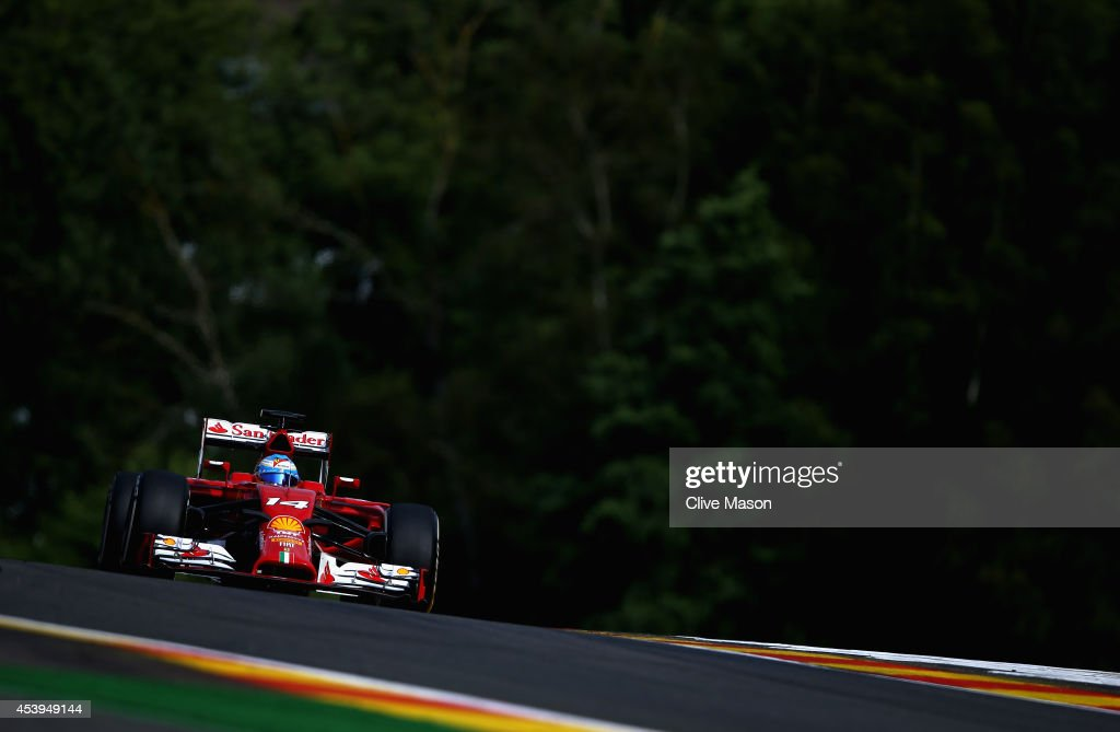 Fernando Alonso of Spain and Ferrari drives during practice ahead of the Belgian Grand Prix at Circuit de Spa-Francorchamps on August 22, 2014 in Spa, Belgium.