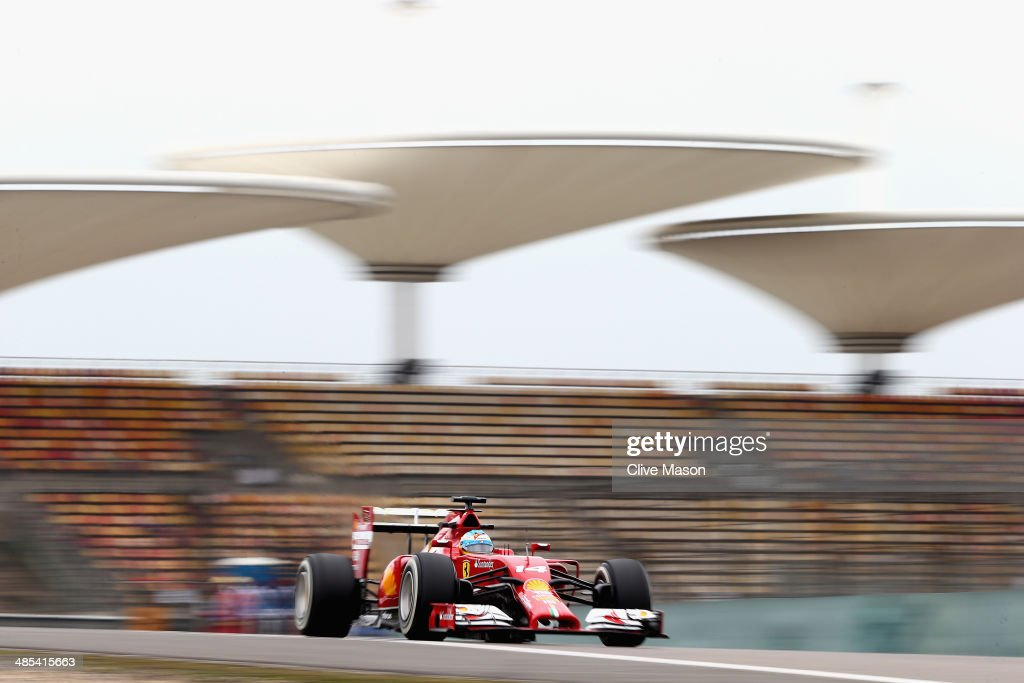 Fernando Alonso of Spain and Ferrari drives during practice ahead of the Chinese Formula One Grand Prix at the Shanghai International Circuit on April 18, 2014 in Shanghai, China.