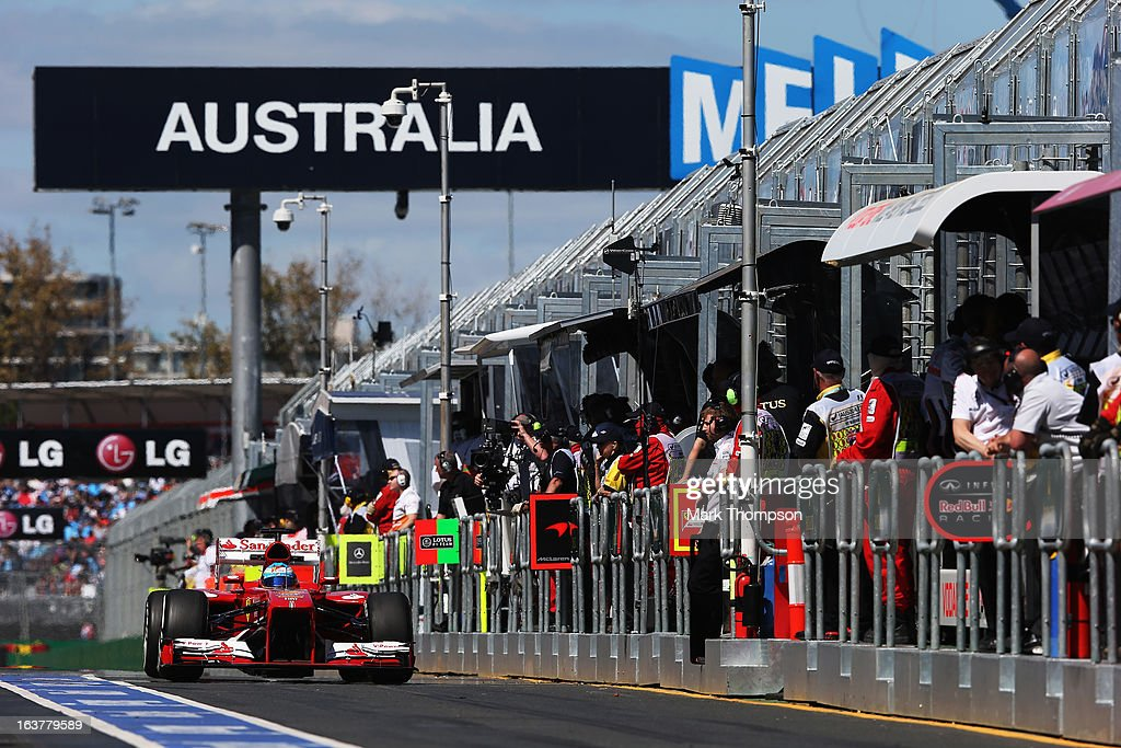 Fernando Alonso of Spain and Ferrari drives during practice for the Australian Formula One Grand Prix at the Albert Park Circuit on March 15, 2013 in Melbourne, Australia.