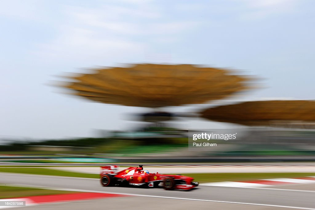 Fernando Alonso of Spain and Ferrari drives during practice for the Malaysian Formula One Grand Prix at the Sepang Circuit on March 22, 2013 in Kuala Lumpur, Malaysia.