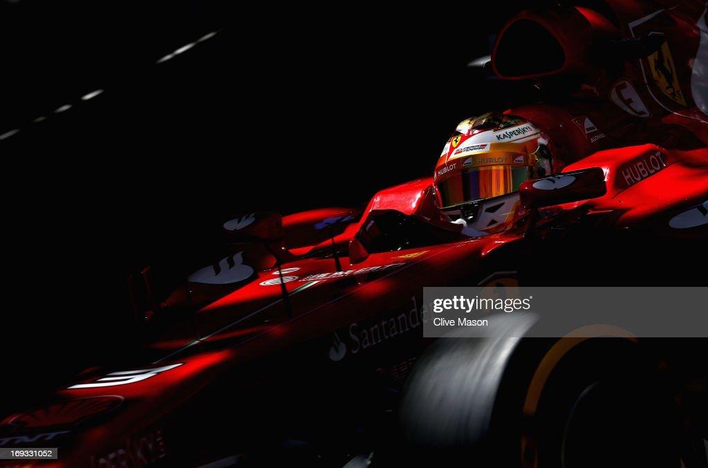 Fernando Alonso of Spain and Ferrari drives during practice for the Monaco Formula One Grand Prix at the Circuit de Monaco on May 23, 2013 in Monte-Carlo, Monaco.