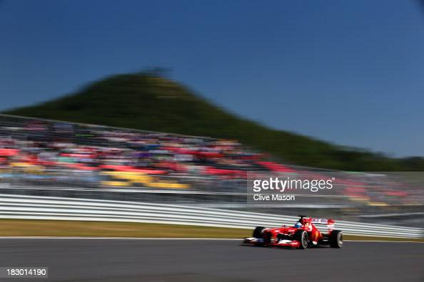 Fernando Alonso of Spain and Ferrari drives during practice for the Korean Formula One Grand Prix at Korea International Circuit on October 4 2013 in...