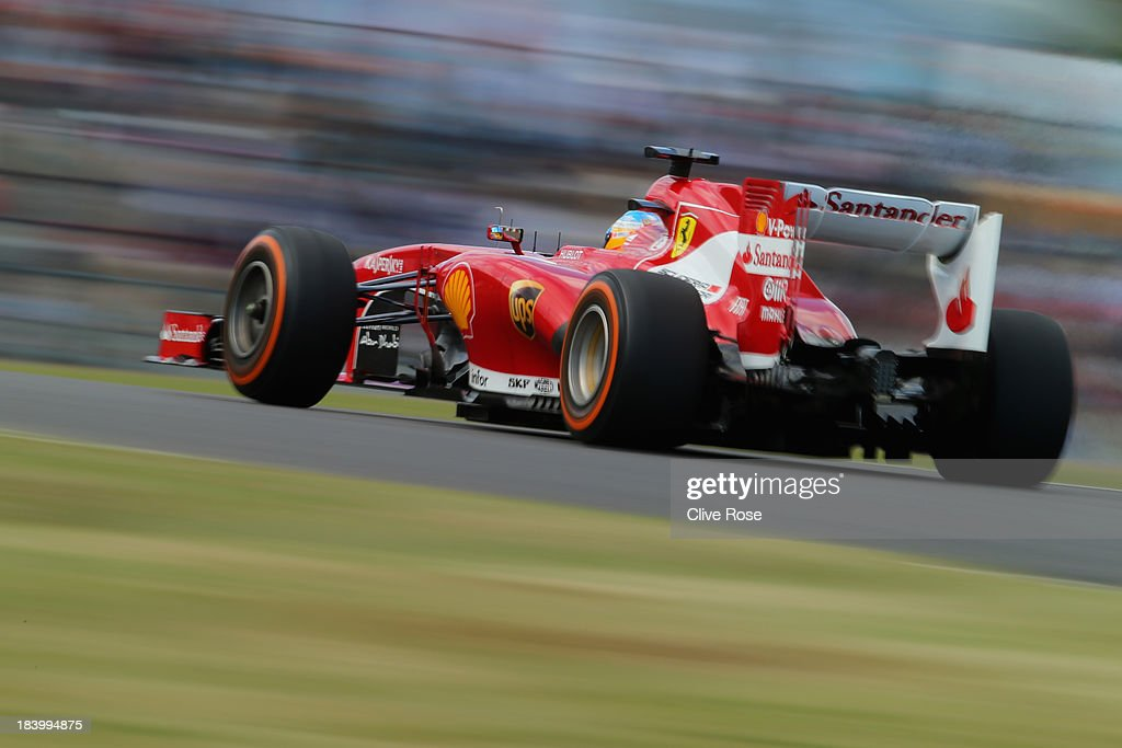 Fernando Alonso of Spain and Ferrari drives during practice for the Japanese Formula One Grand Prix at Suzuka Circuit on October 11 2013 in Suzuka...