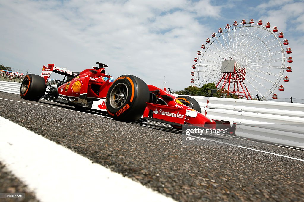Fernando Alonso of Spain and Ferrari drives during practice for the Japanese Formula One Grand Prix at Suzuka Circuit on October 3 2014 in Suzuka...