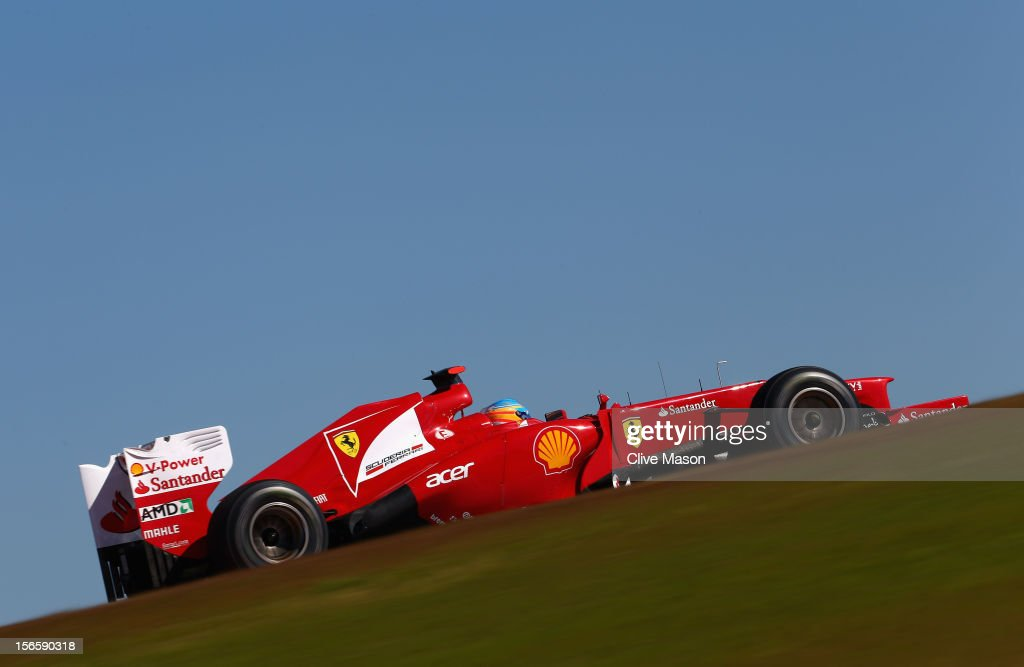 Fernando Alonso of Spain and Ferrari drives during qualifying for the United States Formula One Grand Prix at the Circuit of the Americas on November 17, 2012 in Austin, Texas.