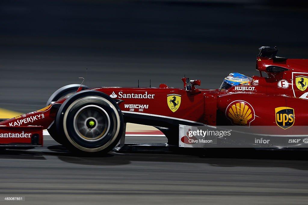 Fernando Alonso of Spain and Ferrari drives during the Bahrain Formula One Grand Prix at the Bahrain International Circuit on April 6, 2014 in Sakhir, Bahrain.