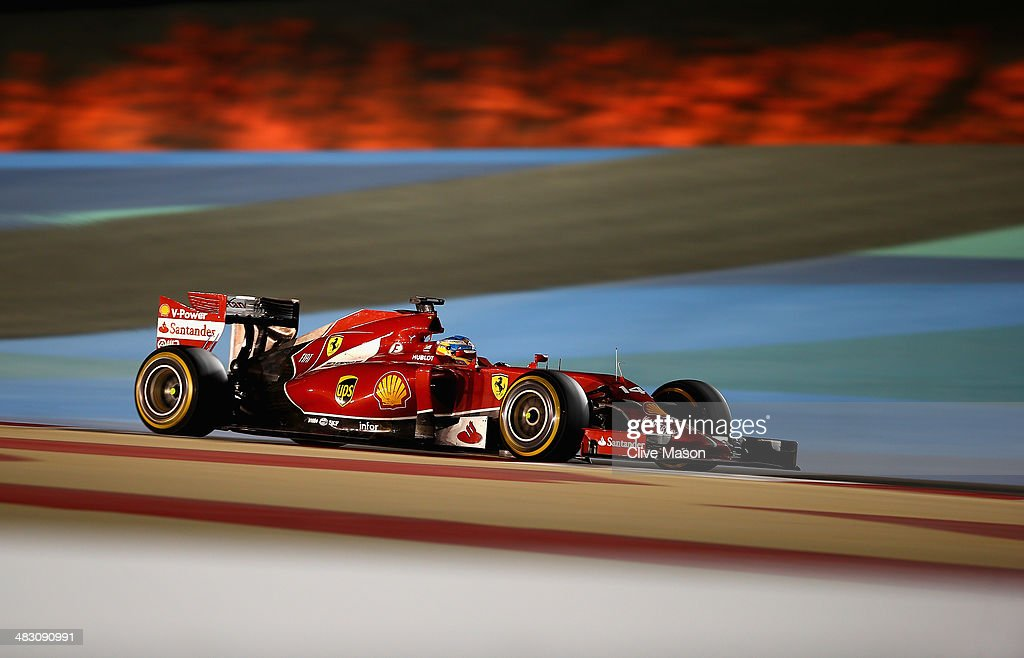Fernando Alonso of Spain and Ferrari drives during the Bahrain Formula One Grand Prix at the Bahrain International Circuit on April 6, 2014 in Sakhir, Bahrain.