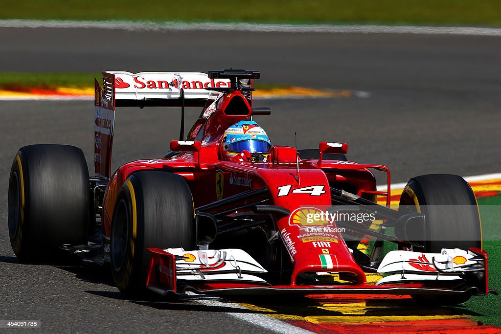 Fernando Alonso of Spain and Ferrari drives during the Belgian Grand Prix at Circuit de Spa-Francorchamps on August 24, 2014 in Spa, Belgium.