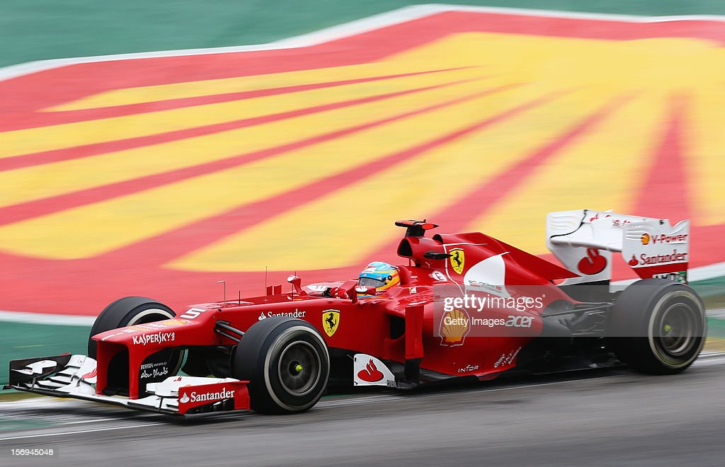 Fernando Alonso of Spain and Ferrari drives during the Brazilian Formula One Grand Prix at the Autodromo Jose Carlos Pace on November 25, 2012 in Sao Paulo, Brazil.