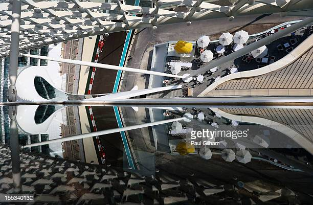 Fernando Alonso of Spain and Ferrari drives during the final practice session prior to qualifying for the Abu Dhabi Formula One Grand Prix at the Yas...