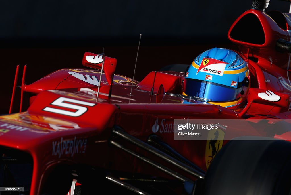 Fernando Alonso of Spain and Ferrari drives during the final practice session prior to qualifying for the United States Formula One Grand Prix at the Circuit of the Americas on November 17, 2012 in Austin, Texas.