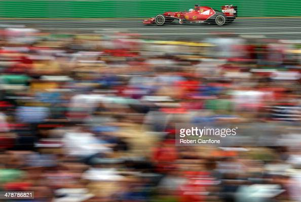 Fernando Alonso of Spain and Ferrari drives during the final practice session prior to qualifying for the Australian Formula One Grand Prix at Albert...