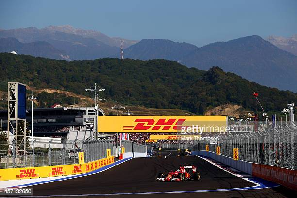Fernando Alonso of Spain and Ferrari drives during the Russian Formula One Grand Prix at Sochi Autodrom on October 12 2014 in Sochi Russia