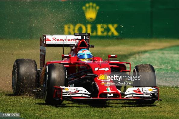 Fernando Alonso of Spain and Ferrari drives off line during practice for the Australian Formula One Grand Prix at Albert Park on March 14 2014 in...