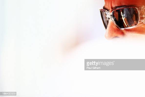 Fernando Alonso of Spain and Ferrari is interviewed by the media during previews for the Abu Dhabi Formula One Grand Prix at the Yas Marina Circuit...