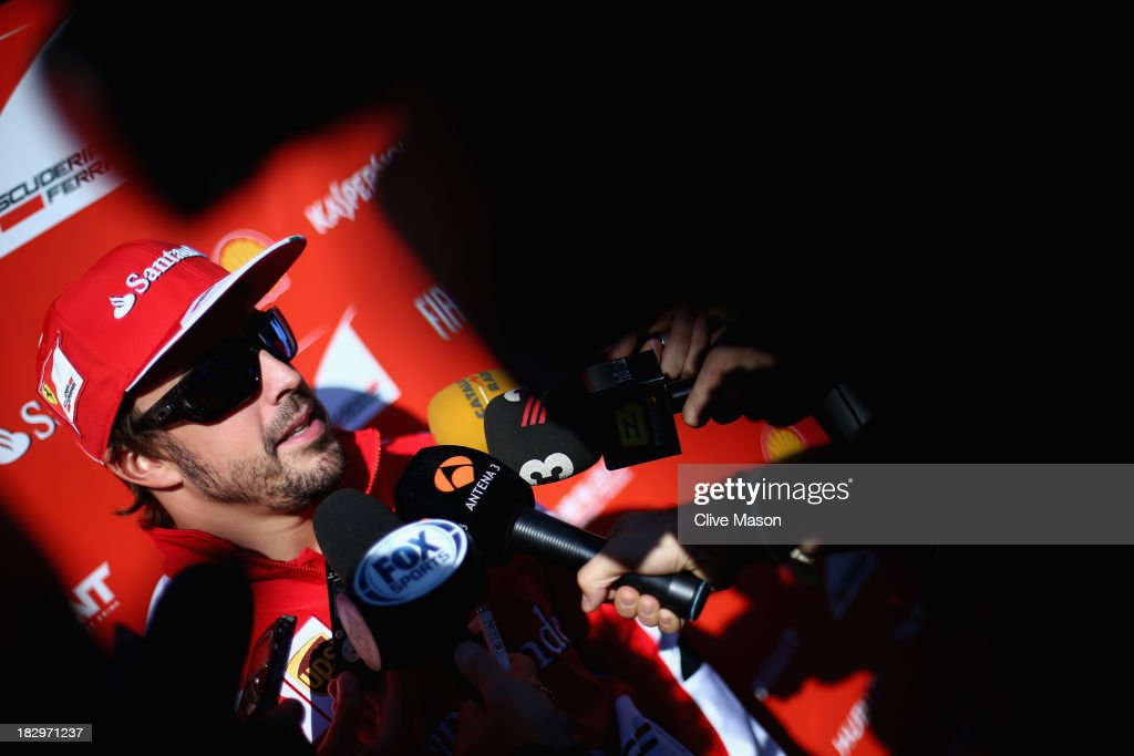 Fernando Alonso of Spain and Ferrari is interviewed during previews for the Korean Formula One Grand Prix at Korea International Circuit on October 3...