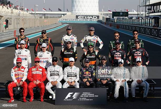 Fernando Alonso of Spain and Ferrari Kimi Raikkonen of Finland and Ferrari Lewis Hamilton of Great Britain and Mercedes GP Nico Rosberg of Germany...