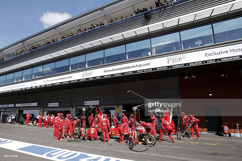 Fernando Alonso of Spain and Ferrari makes a pit stop during the Belgian Grand Prix at Circuit de Spa-Francorchamps at Circuit de Spa-Francorchamps on August 24, 2014 in Spa, Belgium.