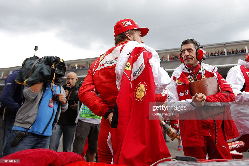 Fernando Alonso of Spain and Ferrari prepares on the grid before the Belgian Grand Prix at Circuit de Spa-Francorchamps on August 24, 2014 in Spa, Belgium.