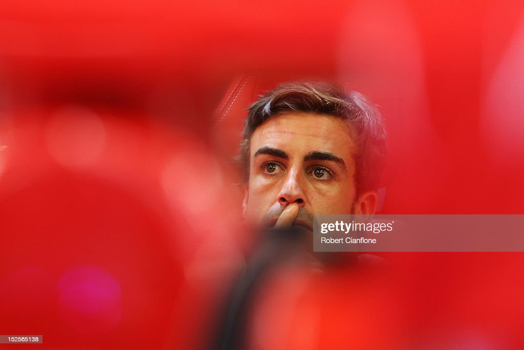 Fernando Alonso of Spain and Ferrari prepares to drive during final practice prior to qualifying for the Singapore Formula One Grand Prix at the Marina Bay Street Circuit on September 22, 2012 in Singapore, Singapore.