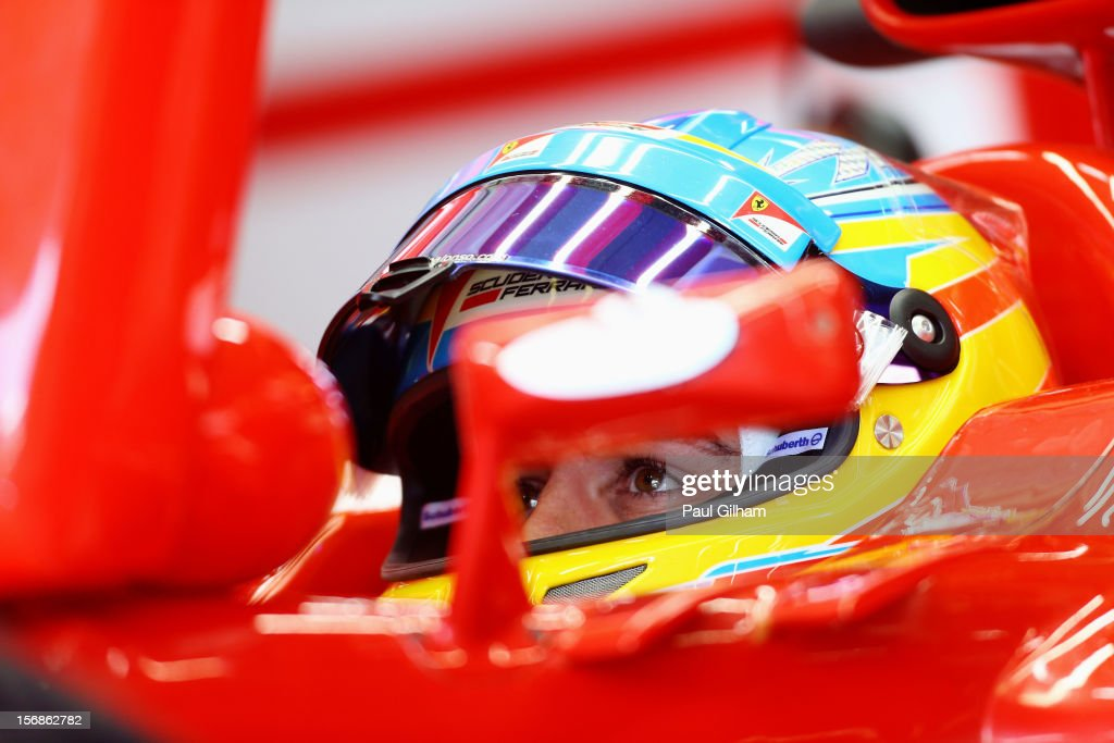Fernando Alonso of Spain and Ferrari prepares to drive during practice for the Brazilian Formula One Grand Prix at the Autodromo Jose Carlos Pace on November 23, 2012 in Sao Paulo, Brazil.