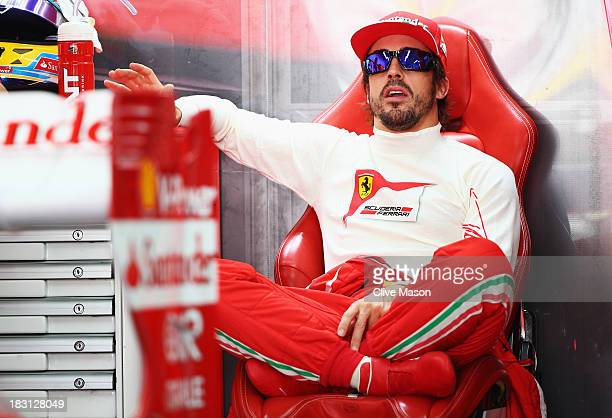 Fernando Alonso of Spain and Ferrari prepares to during the final practice session prior to qualifying for the Korean Formula One Grand Prix at Korea...