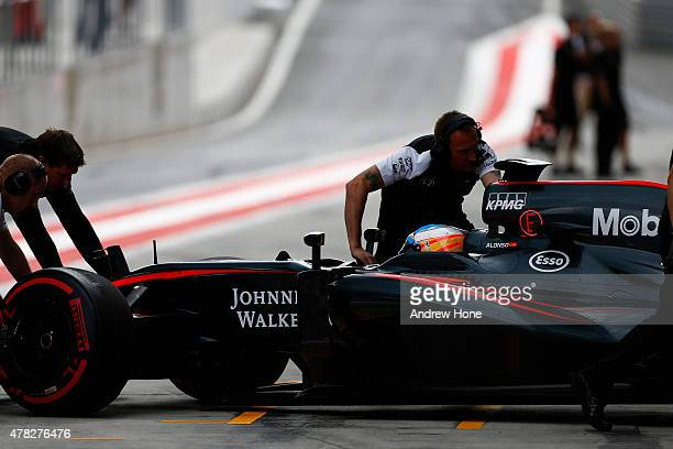 Fernando Alonso of Spain and McLaren drives during Formula One Testing at the Red Bull Ring on June 24 2015 in Spielberg Austria