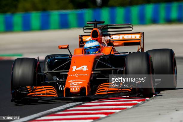 Fernando Alonso of Spain and McLaren during the Formula One Grand Prix of Hungary at Hungaroring on July 30 2017 in Budapest Hungary
