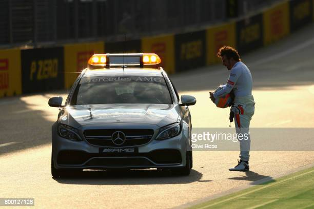 Fernando Alonso of Spain and McLaren Honda after stopping on track during practice for the Azerbaijan Formula One Grand Prix at Baku City Circuit on...