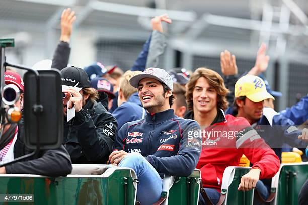 Fernando Alonso of Spain and McLaren Honda Carlos Sainz of Spain and Scuderia Toro Rosso and Roberto Merhi of Spain and Manor Marussia take part in...